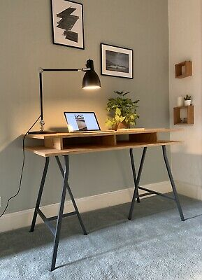 Softwood Plywood Desk - Hand Made With Ikea Trestle Legs - Ref Description