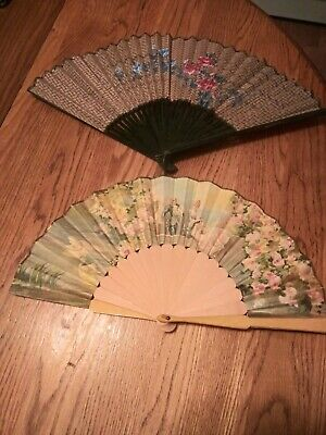2 Oriental Vintage Hand Painted Chinese Fan Decorative Wall Hanging Art