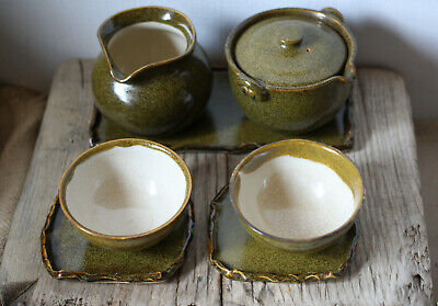 Sale! japanese yaki ware tea set ceremony traditional craft pottery with box