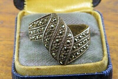 Vintage sterling silver AUTHENTIC ART DECO 1920's FLAPPER MARCASITE ring PATINA