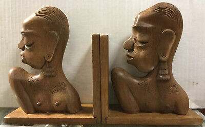 Vintage Hand Carved Wood Bookends Featuring Topless Ladies India Exotics Inc