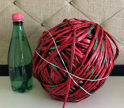 "1/4"" Raffia Ribbon Metallic Red Ribbon Raffia Gift Wrap String Red / Green 1/4"""