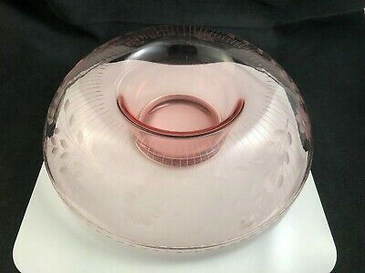 """🟢 Vintage Pink Depression Glass Rolled Edge 12"""" Console Bowl w/ Floral Etched"""