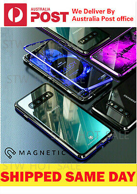 For Samsung S10//S9/S8 Note10 Plus 8/9 Magnetic case Metal Tempered Glass Cover