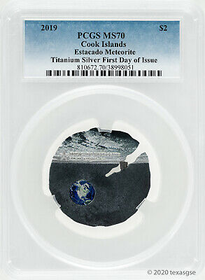 2019 $2 Cook Islands Estacado Meteorite Titanium Silver Coin PCGS MS70 First Day