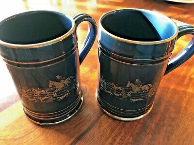 Denby Stoneware Tankard Pair - Hunting Horse & Hounds - Blue and Gold