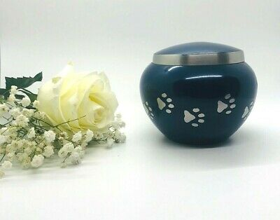 Blue Pet Cremation Urn - Silver Dog and Cat Memorial Urn Pet Burial Urn
