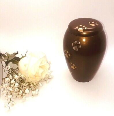 Chocolate Paw Print Cremation Urn - Brown Pet Cremation Urn for Ashes Dog & Cat