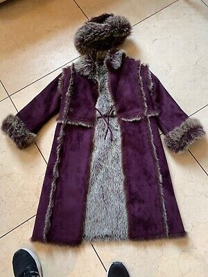 RARE MONSOON PURPLE FAUX SUEDE AND GREY FUR Girls  AND HAT AGE 8-10 Bnwot