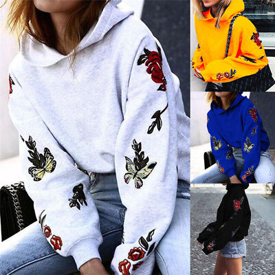 Women Floral Hoodie Sweatshirt Long Sleeve Hooded Sweater Coat JumpeJCAU