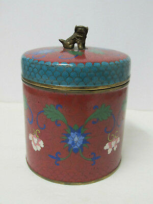 """Fine Antique Large Chinese Cloisonne Covered Jar Box with Foo Dog Finial 7-3/8"""""""