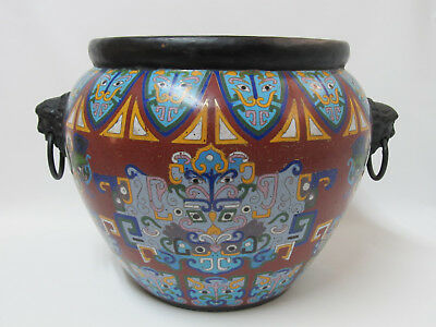 """Fine Old Huge Chinese Cloisonne Pot Vase with Lion Head Ears 14-5/8"""" wide"""