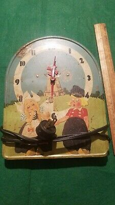 Vintage Dutch Boy & Girl Tin Litho Windmill Wall Clock, AS IS
