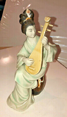 Antique Chinese Mud Man Woman Girl With Lute Statue Figurine Musician Female Art