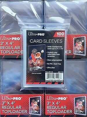 Ultra Pro 100 Cards Sleeves & 100 Toploaders Top Loaders And Card Sleeves Combo