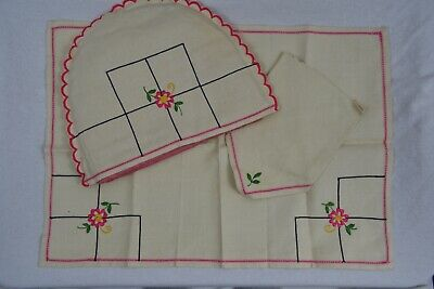 VINTAGE 1930s ivory linen pink embroidered breakfast set tea cosy, napkin, cloth