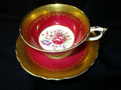 Footed  Cup Saucer Paragon  Cabbage Rose Bouquet Maroon Red Heavy Gold Brocade