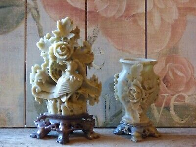 Chinese Serpentine Jade Soapstone Carved Bird & Flower Statue and floral vase