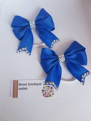 Handmade Girls Personalised  Bows Bling School Hair Bow Bobbles Pairs Colours