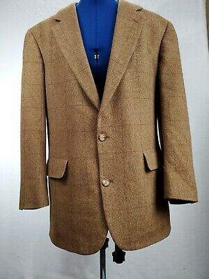 Brooks Brothers Mens Two Button Blazer Multicolor Camelhair Plaid Lined USA 41R