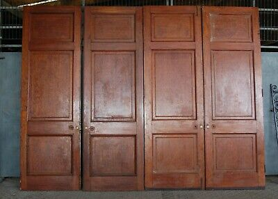 TWO PAIRS OF VERY LARGE EDWARDIAN PITCH PINE INTERNAL DOORS Ref DP0282