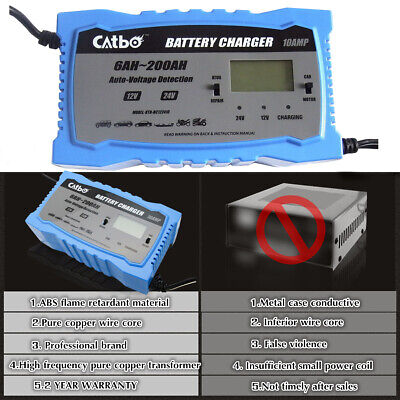 Automatic Intelligent Smart Car Battery Charger Pulse Repair Starter 12V 24V 10A