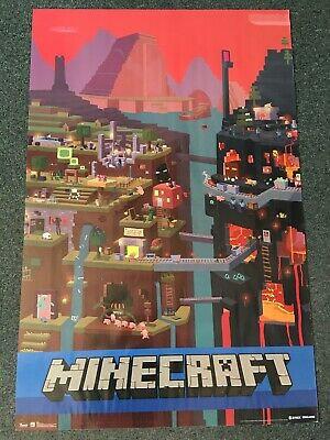 """Minecraft Cube Video Game Gaming Poster 22"""" x 34"""""""
