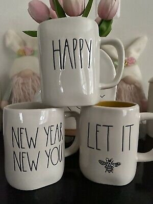 Rae Dunn Mugs Let It Bee, New Year New You And Happy Mugs 3 Pcs