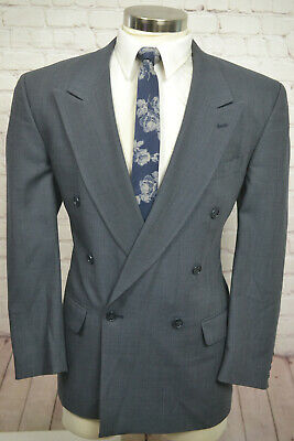 Jones New York Mens Blue Gray Wool Pleated Front 2 Piece Suit 42R 34Wx30L
