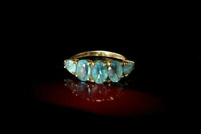 Vintage 5 Blue Topaz 10K Yellow Gold Band Ring  A090090