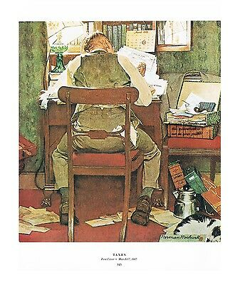 """Norman Rockwell tailor bachelor print /""""MAN THREADING A NEEDLE/"""" 11x15/"""" or 8x10/"""""""