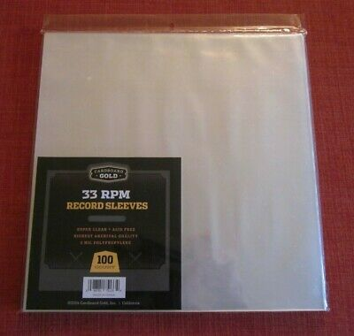 100 CLEAR POLY PLASTIC OUTER SLEEVES / 2 MIL for 33 RPM VINYL LP RECORD STORAGE