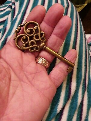 Antique Ornate Solid Brass Key Victorian Heart