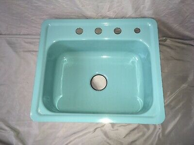 Vtg NOS 24x21 Steel Aqua Blue Green Porcelain Single Basin Drop In Sink 83-20E