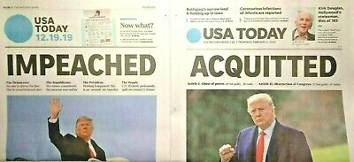 """USA TODAY Donald Trump """"IMPEACHED""""/""""ACQUITTED"""" Newspapers, 12/19/19 2/5/20 MAGA!"""
