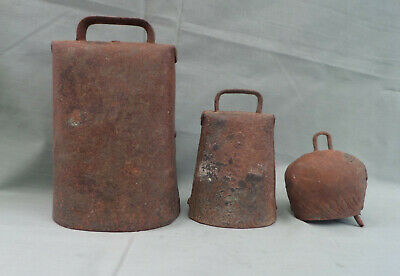 Lot 3 Vintage Rustic Iron Cow/Goat Bells Hand Made & Clappers