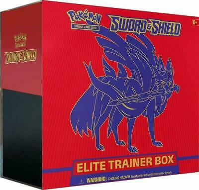 Pokemon Sword and Shield Elite Trainer Box Zacian Red Sealed 10 Booster Packs