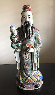 "19"" LARGE Antique Chinese Fuxing Famille Porcelain God Statue SIGNED Fu Lu Shou"