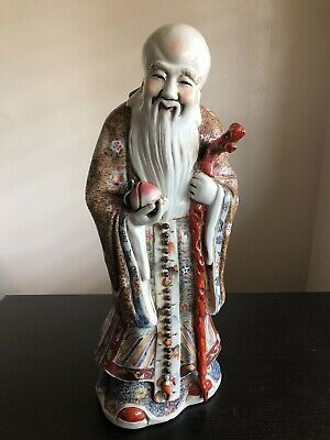 "18"" LARGE Antique Chinese Sanxing Shou Lao Famille Porcelain God Statue SIGNED"