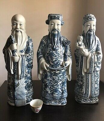Fine HUGE Chinese Blue White Porcelain Fu Lu Shou Statues Scholar Art SIGNED