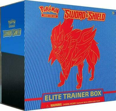 Pokemon Sword and Shield Elite Trainer Box Zamazenta Blue 10 Booster Packs TCG