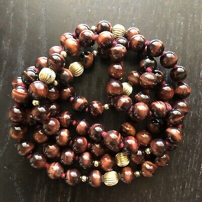"""Fine 31.5""""L Old Chinese 14K Gold & Carved Tigers Eye Stone Beaded Necklace Art"""