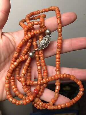 Antique Chinese Double Strand Coral Necklace with Silver Bat Clasp 62.8 grams