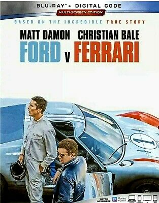 Ford V Ferrari (Blu-Ray+Digital) >>>New<<<W/Slipcover