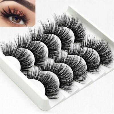 5 Pair 3D Mink False Eyelashes Wispy Cross Long Thick Soft Fake Eye Lashes NEW