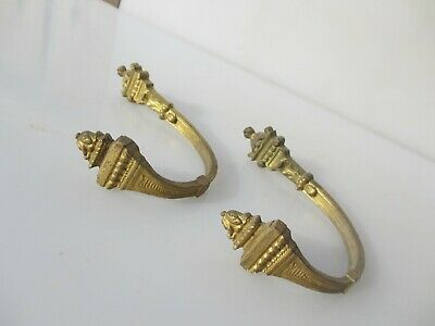 Antique Brass Curtain Tie Back Hook French Rococo Baroque Old Georgian Urn Torch