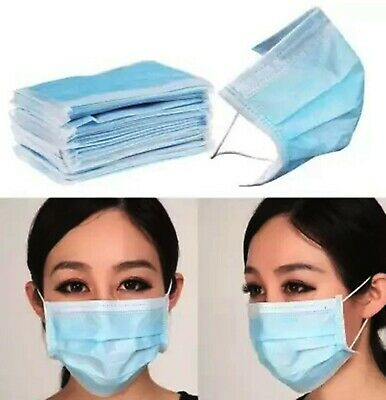 100x Face Disposable Medical Surgical Mask Dust Mouth Respirator Use & Throw