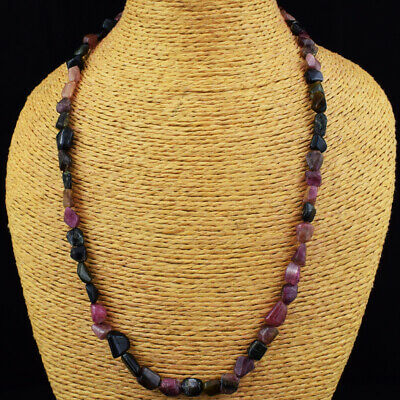 165.00 Cts Earth Mined Watermelon Tourmaline Untreated Beads Necklace JK 25E251