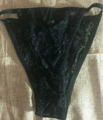 Movie Star S (28-30) Vintage Black Nylon Floral Lace Stretch String Panties