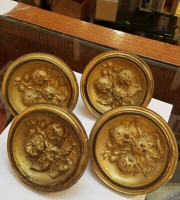 Set of 4 Antique Victorian Gilt Brass Curtain  Tiebacks Strawberry Decoration